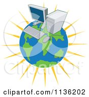Clipart Of A Desktop Computer On A Globe Royalty Free Vector Illustration