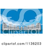 Clipart Of Computer Server Skyscrapers Over Blue Royalty Free Vector Illustration by patrimonio