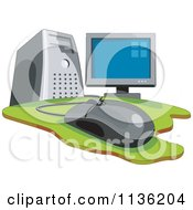 Clipart Of A Desktop Computer And Mouse Royalty Free Vector Illustration