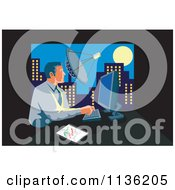 Clipart Of A Retro Businessman Working On A Computer In An Urban Office Royalty Free Vector Illustration
