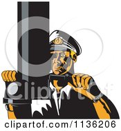 Clipart Of A Retro Submarine Captain Viewing Through A Periscope Royalty Free Vector Illustration by patrimonio