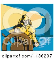 Clipart Of A Retro Captain And Helm Near A Lighthouse Royalty Free Vector Illustration by patrimonio