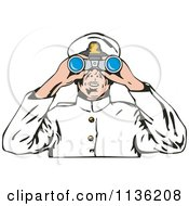Clipart Of A Retro Captain Viewing Through Binoculars Royalty Free Vector Illustration by patrimonio