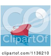 Clipart Of A Retro Commercial Tanker Ship 3 Royalty Free Vector Illustration
