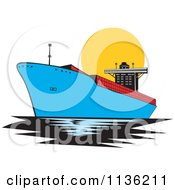 Clipart Of A Retro Commercial Tanker Ship 1 Royalty Free Vector Illustration