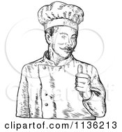 Black And White Sketched Chef Giving A Thumb Up
