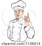Clipart Of A Retro Chef Holding Up A Finger Royalty Free Vector Illustration