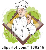 Clipart Of A Retro Chef Holding Up A Finger Over A Leafy Diamond Royalty Free Vector Illustration