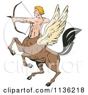 Clipart Of A Retro Winged Centaur Archer Royalty Free Vector Illustration