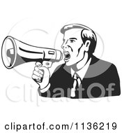 Clipart Of A Retro Black And Businessman Shouting Into A Megaphone Royalty Free Vector Illustration