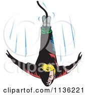 Clipart Of A Retro Blond Bungee Jumper Falling Royalty Free Vector Illustration by patrimonio