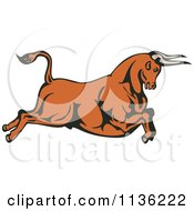Clipart Of A Retro Leaping Bull Royalty Free Vector Illustration