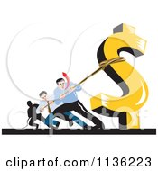 Clipart Of Retro Businessman Pulling Against A Dollar Symbol Royalty Free Vector Illustration by patrimonio