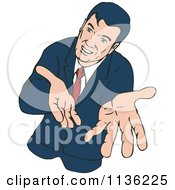 Clipart Of A Retro Businessman Extending His Hands Outwards Royalty Free Vector Illustration