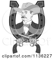 Clipart Of A Retro Grayscale Cowboy In A Horseshoe With Crossed Pistols Royalty Free Vector Illustration