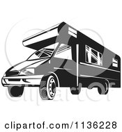 Clipart Of A Retro Black And White Camper Van Royalty Free Vector Illustration