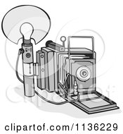 Clipart Of A Retro Grayscale Camera And Bulb Royalty Free Vector Illustration by patrimonio