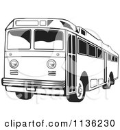Clipart Of A Retro Black And White Bus Royalty Free Vector Illustration