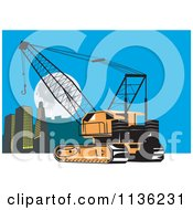 Clipart Of A Retro Construction Crane And City Royalty Free Vector Illustration by patrimonio