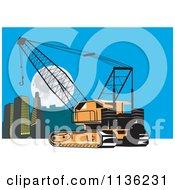 Retro Construction Crane And City