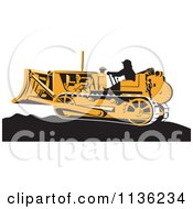 Clipart Of A Retro Worker Operating Bulldozer Machine 1 Royalty Free Vector Illustration by patrimonio