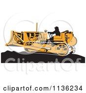 Retro Worker Operating Bulldozer Machine 1