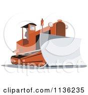 Clipart Of A Retro Bulldozer Machine 2 Royalty Free Vector Illustration by patrimonio