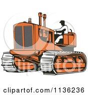 Clipart Of A Retro Worker Operating Bulldozer Machine 2 Royalty Free Vector Illustration by patrimonio