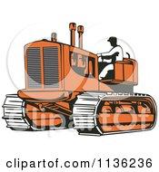 Retro Worker Operating Bulldozer Machine 2
