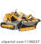 Clipart Of A Retro Bulldozer Machine 1 Royalty Free Vector Illustration by patrimonio
