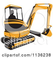 Retro Yellow Excavator Bulldozer