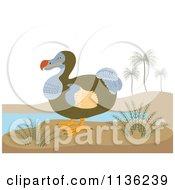Clipart Of A Retro Dodo Bird On A Beach Royalty Free Vector Illustration