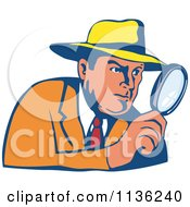 Clipart Of A Retro Detective Peering Through A Magnifying Glass Royalty Free Vector Illustration