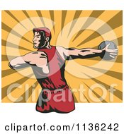 Clipart Of A Retro Discus Thrower Athlete Over Rays Royalty Free Vector Illustration