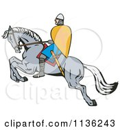 Clipart Of A Retro Crusader On A Leaping Horse Royalty Free Vector Illustration