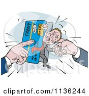 Clipart Of A Retro Man Being Squeezed In A Credit Card Crunch Royalty Free Vector Illustration