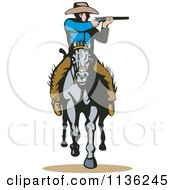 Clipart Of A Retro Cowboy Shooting On Horseback Royalty Free Vector Illustration by patrimonio