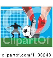 Clipart Of A Silhouetted Goalie And Soccer Player Feet With Ball Royalty Free Vector Illustration by patrimonio