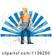 Clipart Of A Retro Coal Miner Worker Holding A Pickaxe Over Blue Rays Royalty Free Vector Illustration