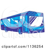 Clipart Of A Retro Blue City Bus Royalty Free Vector Illustration