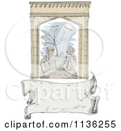 Clipart Of A Sketched Creepy Cemetery And Banner Scroll Royalty Free Vector Illustration