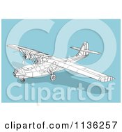 Clipart Of A Wireframe Catalina Airplane On Blue Royalty Free Vector Illustration
