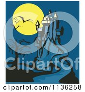 Clipart Of A Spooky Castle With A Dead Tree Bats And Full Moon Royalty Free Vector Illustration