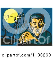 Clipart Of A Vampire Reaching Out With His Castle In The Background Royalty Free Vector Illustration