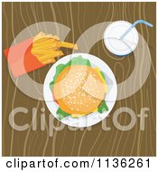 Clipart Of A Cheeseburger Fries And Soda On A Table Royalty Free Vector Illustration by patrimonio