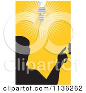 Clipart Of A Silhouetted Man Flipping A Light Switch Over Yellow Royalty Free Vector Illustration