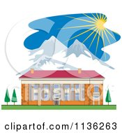 Clipart Of A Brick School Building And Mountains With Sunshine Royalty Free Vector Illustration