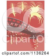 Clipart Of Yellow Fireworks Over A Bridge With Red Tones Royalty Free Vector Illustration by patrimonio