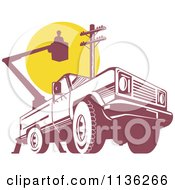 Clipart Of A Retro Bucket Truck With An Electrican And Pole Royalty Free Vector Illustration
