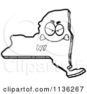 Cartoon Clipart Of An Outlined Mad New York State Character Black And White Vector Coloring Page
